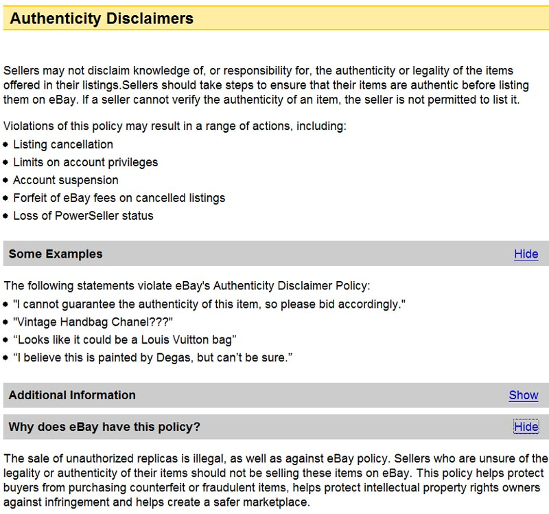 Ebay Policy Authenticity Disclaimers