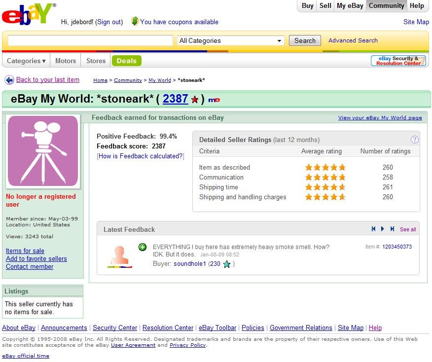 Anthony Shkutnick S Stoneark Ebay Account Naru Not A Registered User Suspended Status
