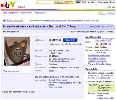 Hannibal Lecter Mask Prop eBay