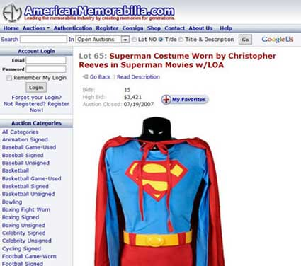 American Memorabilia Superman Costume 2007