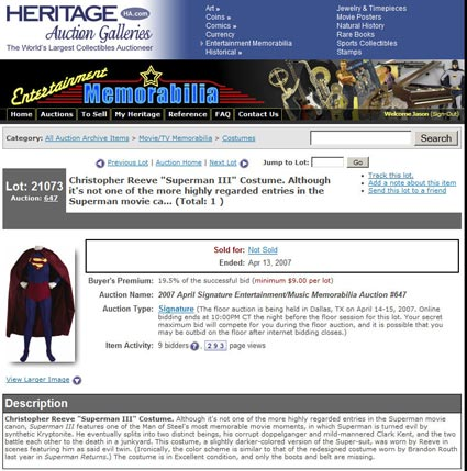 "Heritage Auction Galleries ""Superman III"" Costume – Update"