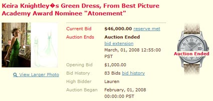 "Charity Auction: Keira Knightley's ""Atonement"" Dress Sells for $46,000"