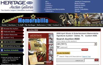 Heritage Auction Galleries April 2008 Signature Auction Catalog Available Online