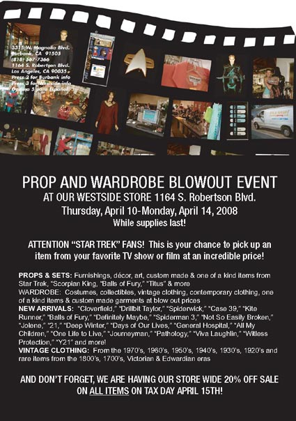 "It's A Wrap! ""Annual Prop and Wardrobe Sale Extravaganza"" – Additional Details"