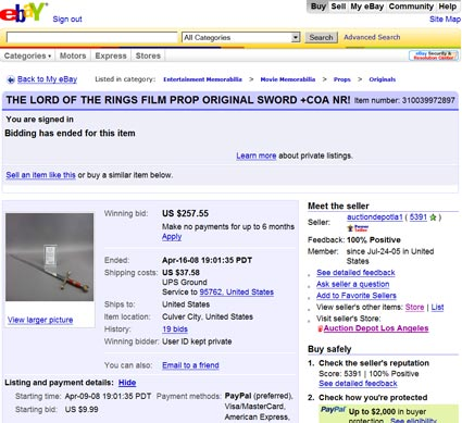 The Lord of the Rings, Global Antiques, and Auction Depot LA