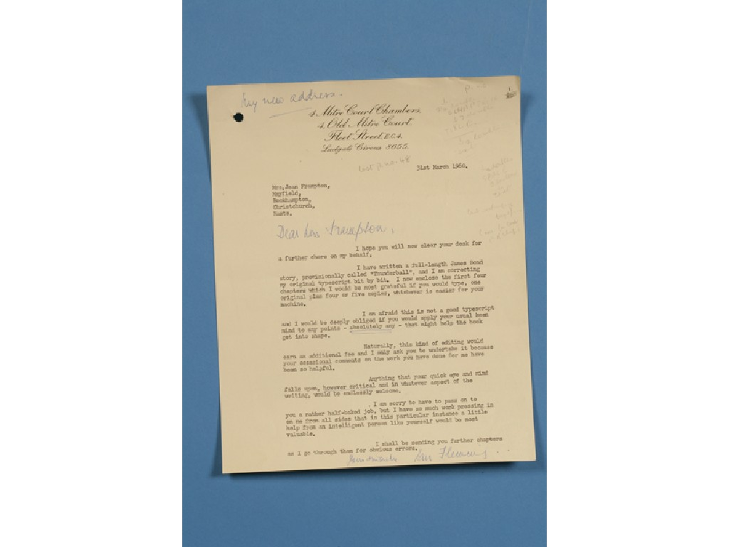 "Ian Fleming's ""James Bond"" Letters Fetch Nearly $30,000 at Auction"