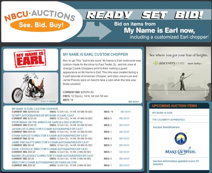 "Fifth Wave of NBC Universal Studio Auctions – ""My Name Is Earl"""