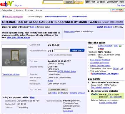 Mark Twain, Global Antiques, and Auction Depot LA