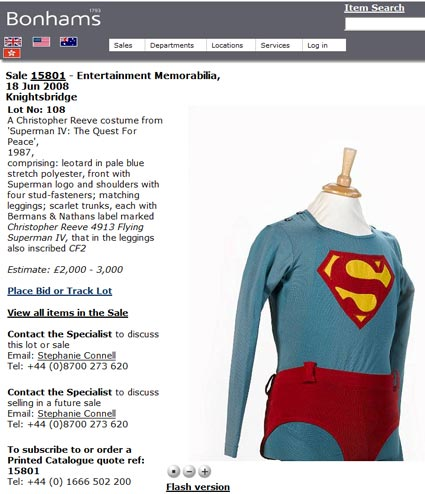 "Bonhams ""Superman IV Flying Suit"" (June 2008 Auction)"