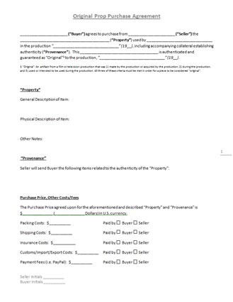 "Original Prop Purchase Agreement"" Template"