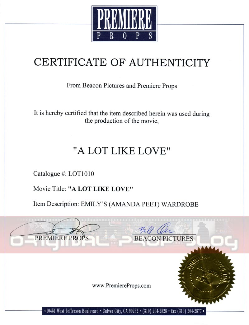 Studio Reseller Certificates of Authenticity Premiere Props – Certificate of Authority Sample