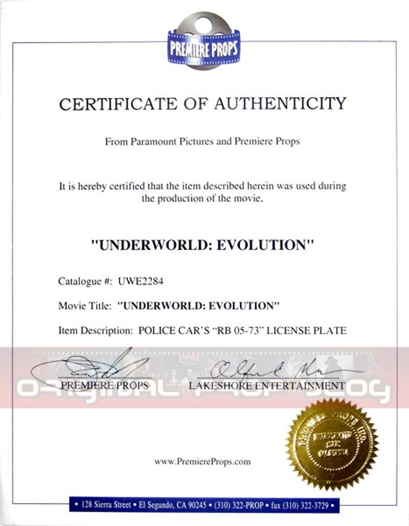 Studio reseller certificates of authenticity premiere props high resolution archive premiere props sample coa 2 yadclub Images