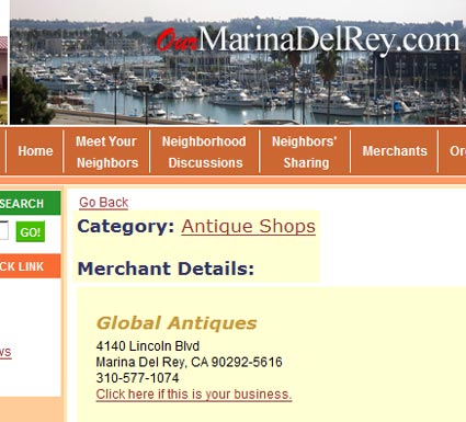 """Global Antiques"" Culver City Map: eBay Seller Storefronts, ""Big Lots!"", ""T.J. Maxx"""