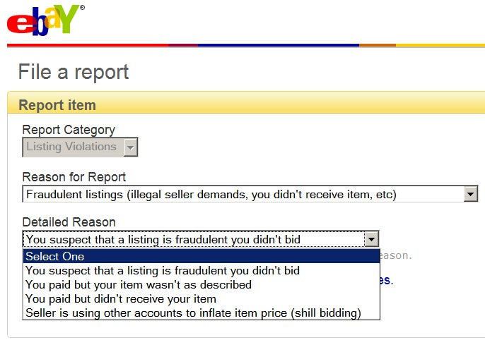 how to report a seller on ebay eBay