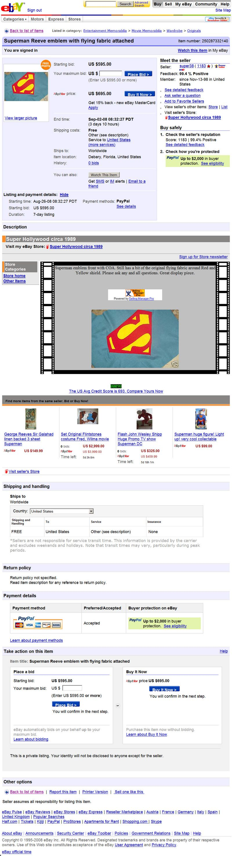 Superman Costumes in the Marketplace: August 2008, Part 3