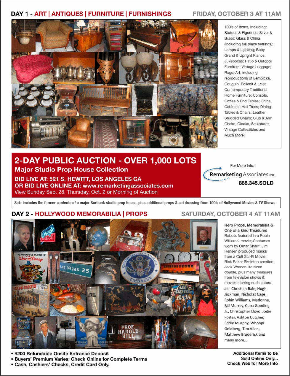 "Remarketing Associates ""Major Studio Prop Collection"" Auction – Oct 3rd & 4th in Los Angeles"