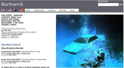 """Bonhams to Auction James Bond """"The Spy Who Loved Me"""" Lotus Esprit Coupé"""