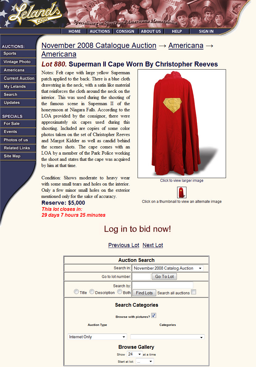 """Leland's """"Superman II Cape"""" (November 2008 Auction)"""