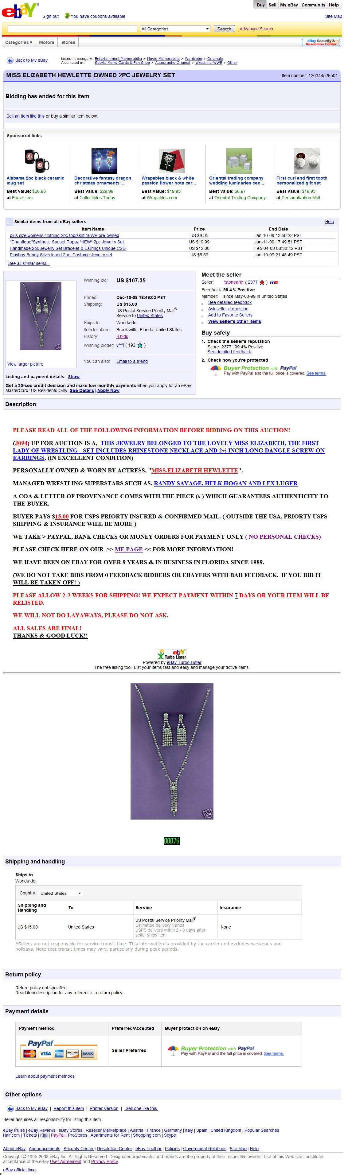 Ebay Cancel Bid Miss Elizabeth Hewlette Owned Pc Jewelry Set