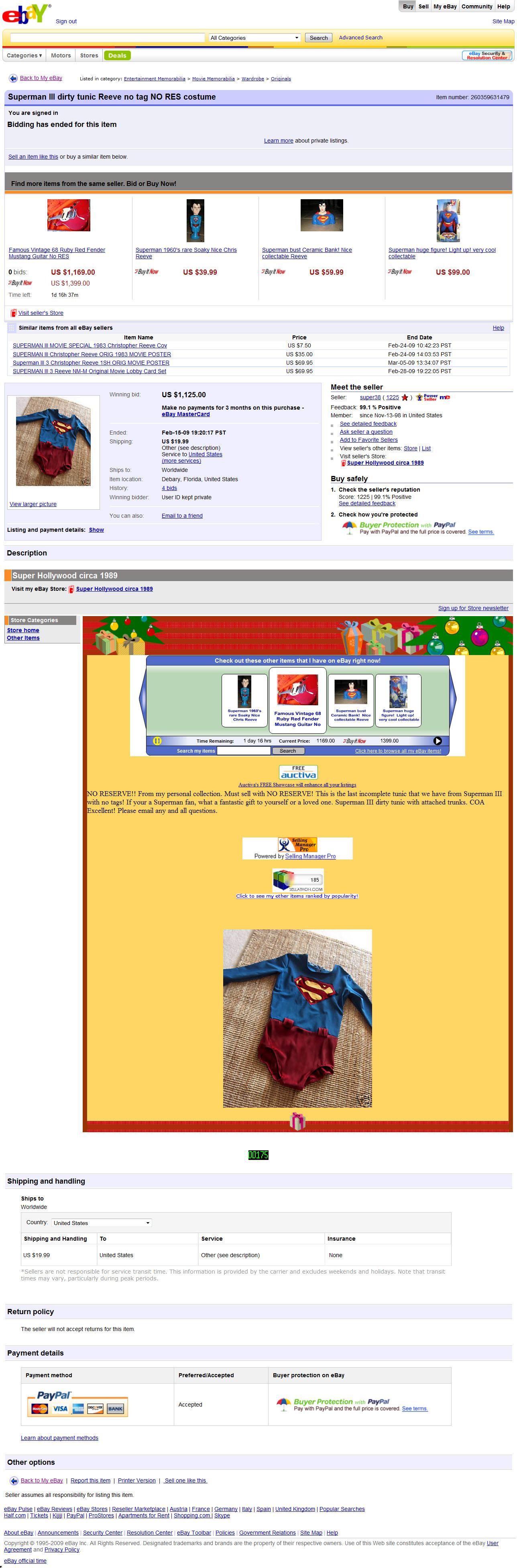 Ebay Cancel Bid Superman Iii Dirty Tunic Reeve No Tag No