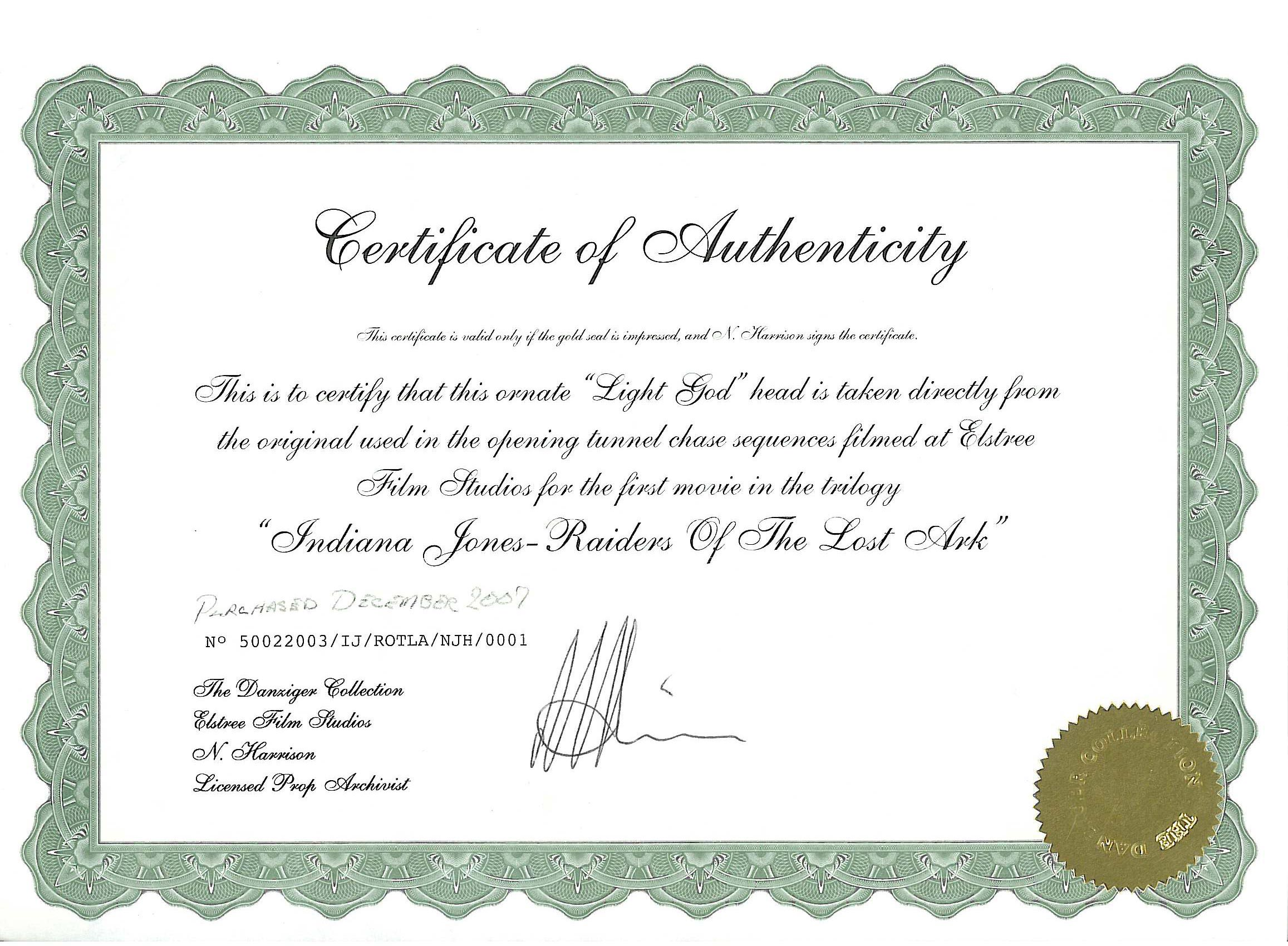 certificate of authenticity photography template - elstree props fertility idols light gods danziger