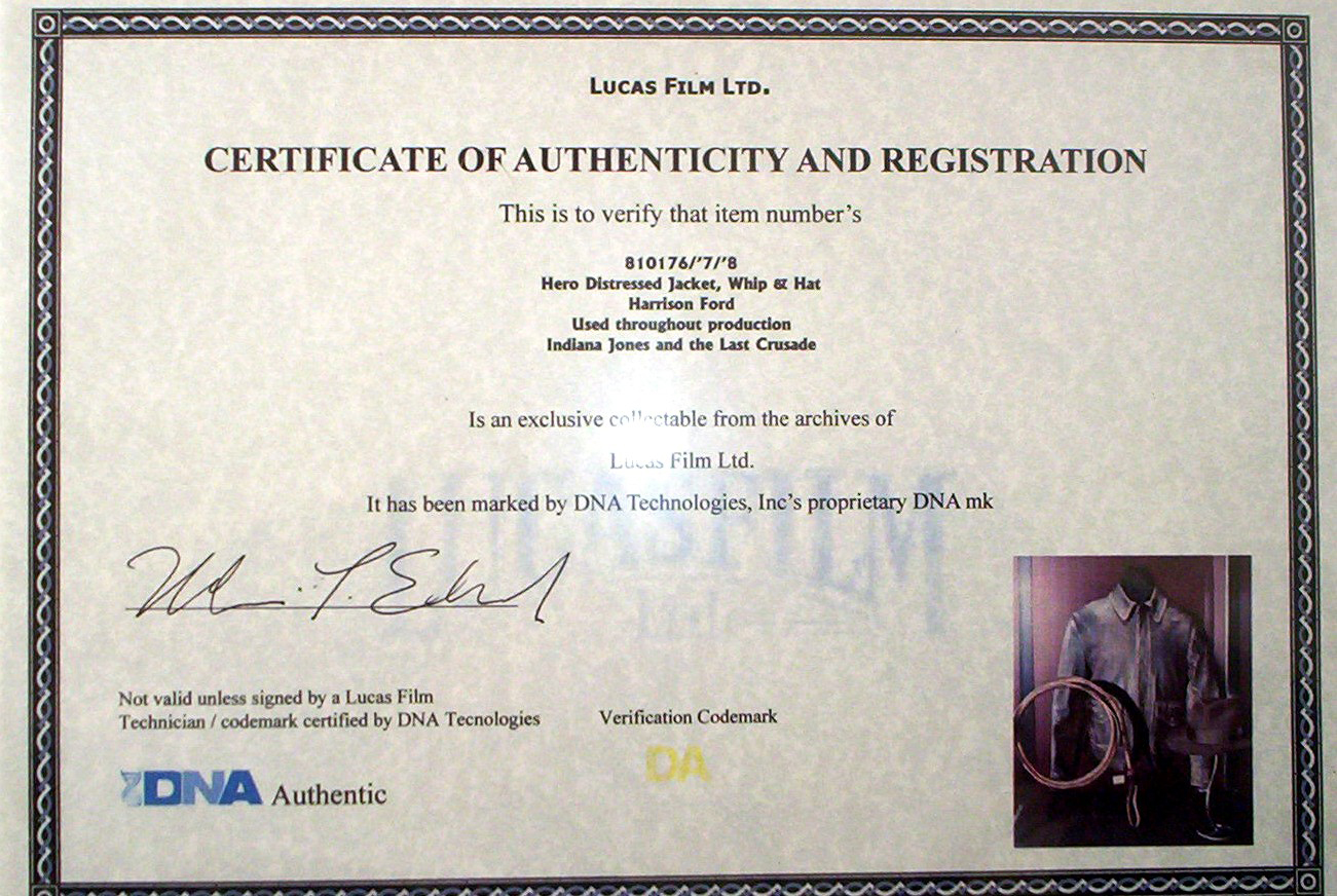 Art certificate of authenticity template gallery templates certificate of authenticity autograph template gallery templates analysis indiana jones fedora bullwhip jacket with lucas film yelopaper Choice Image