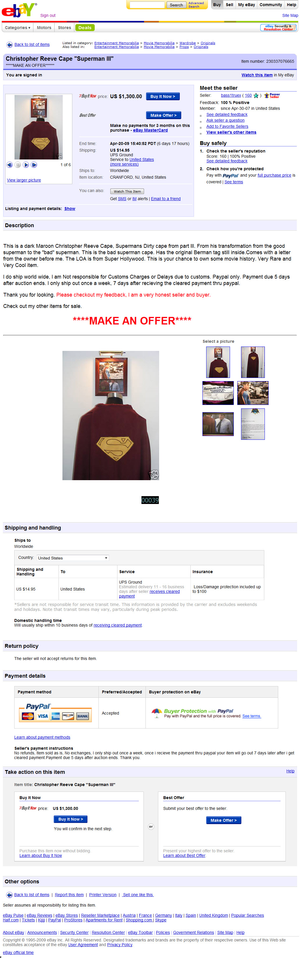 Superman Costumes in the Marketplace: April 2009