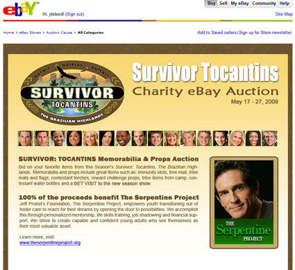 "Charity Auction: Auction Cause Offers Original Props from ""Survivor Tocantins"" on eBay"