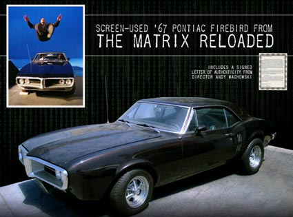 """Charity Auction: Auction Cause Offers """"Screen-Used"""" Prop 1967 Pontiac Firebird from """"The Matrix Reloaded"""""""
