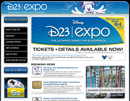 """D23 Expo"" at Anaheim Convention Center in September 2009 to Feature ""Treasures of the Walt Disney Archives"""