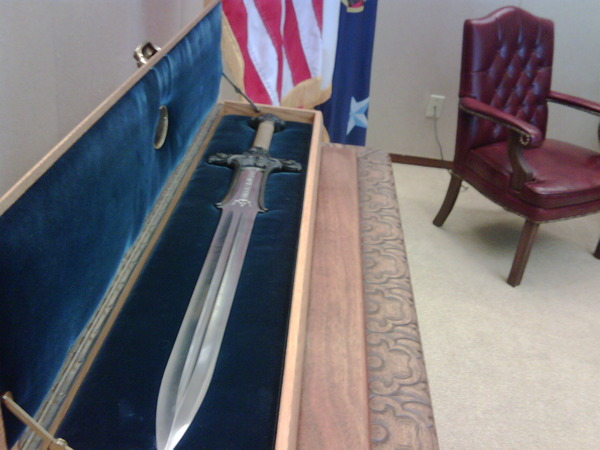 "Twitter: Arnold Schwarzenegger Tweets About ""Conan"" Movie Prop Sword At Governor's Office"
