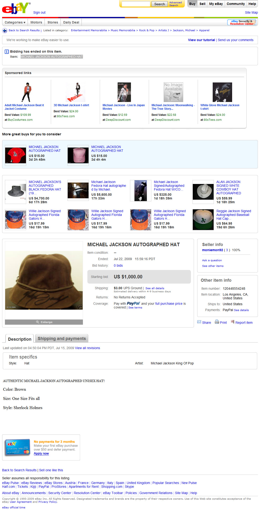 "New ""Global Antiques"" Hollywood Memorabilia Dealer on eBay (Michael Jackson, Star Wars, Wizard of Oz)"