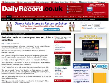 "£200 Reward for Return of Stolen Duck Movie Prop from Peter Mullan's ""Neds"""