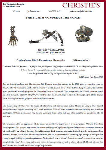 "Christie's November 2009 Entertainment Memorabilia Auction to Feature Original Prop ""King Kong"" Stop-Motion Armature"
