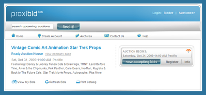 "Ready Auction House ""Vintage Comic Art Animation Star Trek Props"" October 31, 2009"