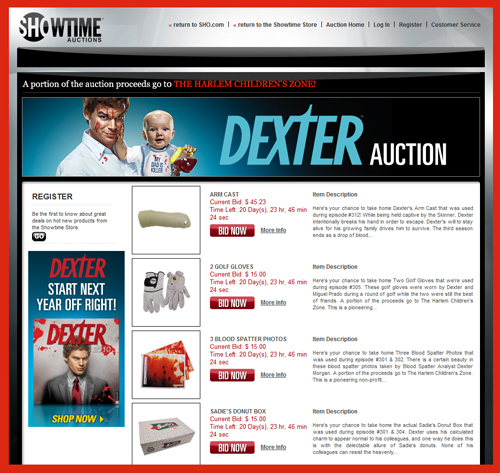 "Showtime Launches ""Dexter"" Auctions Offering Original Props from the Popular Television Program"