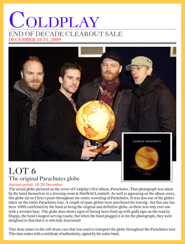 "Coldplay ""End of Decade Clearout Sale"" Memorabilia Auction Raises Over $400,000 for Charity; eBay Auction Results"