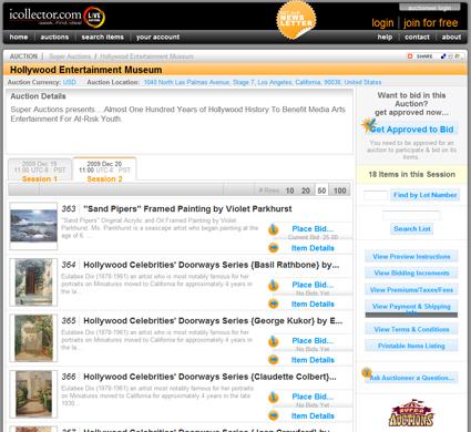 Hollywood-Entertainment-Museum-Super-Auctions-iCollector-Memorabilia-Session-2-Portal