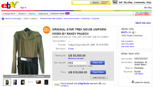 "Charity Auction: Original Star Trek Uniform Worn By Inspirational Professor Randy Pausch, Author of ""The Last Lecture"""
