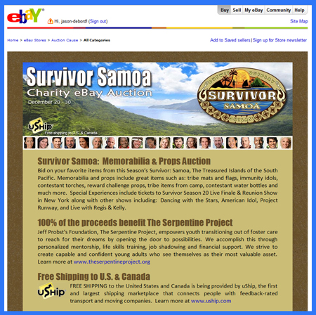 "Charity Auction: Auction Cause Offers Original Props from ""Survivor Samoa"" on eBay"