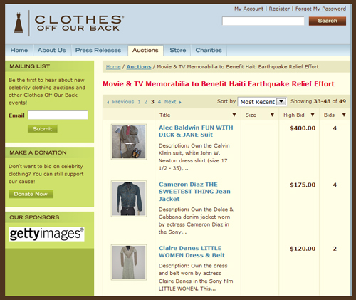 """Clothes Off Our Back"" Charity Auction of Sony Pictures Movie Costumes Benefits Haiti Earthquake Relief"