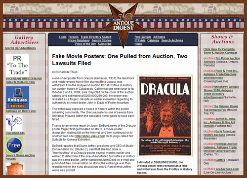 Maine Antique Digest Report & Legal Update on Movie Poster Scandal