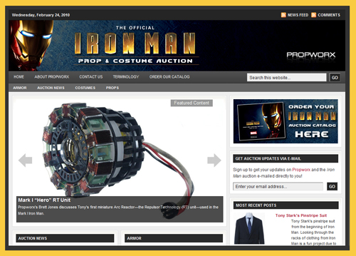 Details on PropWorx Iron Man Movie Props, Costumes, Auction Catalog
