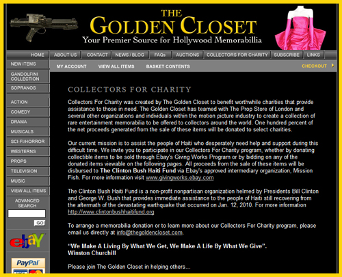 "Golden Closet Holds ""Collectors For Charity"" Auction to Benefit the Haitian Earthquake Victims"