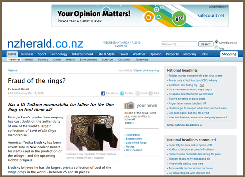 "New Zealand Herald ""Fraud of the Rings"" Story Gets It Wrong About Original ""Lord of the Rings"" Movie Prop Collection"
