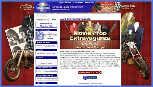 "Premiere Props ""Live Movie Prop Extravaganza Auction"" Catalog Online, Event March 13th"