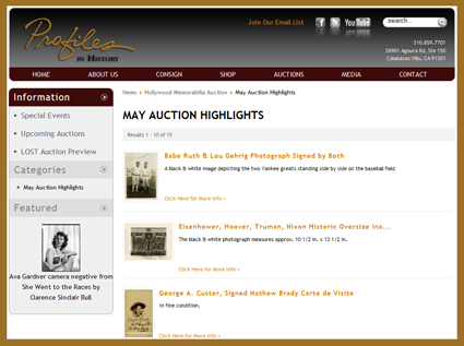 Profiles in History Offers Sneak Peak Preview of Movie Props Consigned to May 2010 Auction