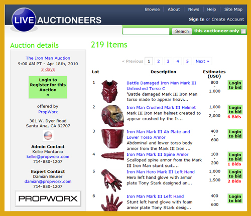 Propworx Iron Man Movie Prop and Costume Auction Catalog Online, Live Event April 18th at C2E2
