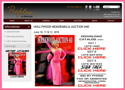 Profiles in History 'Hollywood Auction 40' TV & Movie Prop Auction Catalog Available Online for Sale Event June 10th-12th 2010