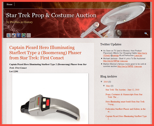 "Profiles in History Launch ""Star Trek Prop & Costume Auction"" Blog Featuring Videos, Photography of Props, Costumes, Memorabilia"